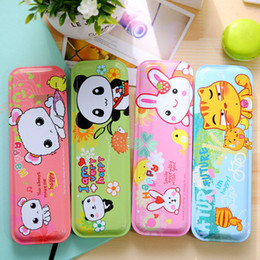 Wholesale Tin Box Pencil Case - Wholesale- 1 x Kawaii Cartoon animal Pencil case box Tin box Pen Case School children gift stationery Free shipping