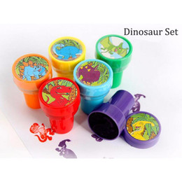 Wholesale rubber stamp self inking - Wholesale- 6 Pcs set Kids Cartoon Stamps Cute Animal Dinosaur Children Custom Plastic Rubber Self Inking Toys DIY Stampers 9zca304-3