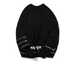 Wholesale European Men Hats - 2017 Autumn European Tide Brand New Pattern Zipper Letter Printing Even Hat High Street Pullover Sweater