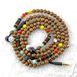 Wholesale Wooden Beads For Necklaces - Idoit polished wooden beads in-ear necklace earphone with mic suitable for clothing decoration for Iphone I phone7