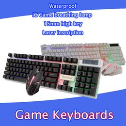 Wholesale Pc Games Vista - Wired LED Backlit illuminated Multimedia Ergonomic Usb Gaming Keyboard Gamer + USB Game Mouse for computer PC WIN7 8 10 Vista