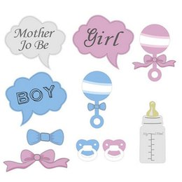 Wholesale Wholesale Baby Shower Frames - Hot 10Pcs Party Gifts Photo Booth Props DIY Bottle Baby Shower Boy Girl Birthday Enclosed Stick Frame Wedding Decoration