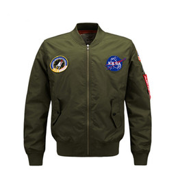 Wholesale Air Force Windbreaker - Men's Clothing MA1 Bomber Jackets Men Military Air Force Baseball Collar Flight Windbreaker Winter Pilot Mens Jacket Nasa Coat Plus Size