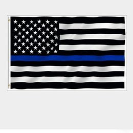 Wholesale Police Flags - USA Police Flags 3 * 5 Foot Thin Blue Line USA Flag Black White And Blue American Flag With Brass Grommets Banner Flags