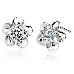 Wholesale Nickel Free Stud - Plum Blossom Flower Stud Earrings Silver Plated 5 Claw Zircon Earrings Nickel Free Flower Jewelry free ship