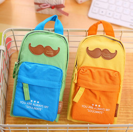 Wholesale Mustache School Bags - Wholesale- Creative Mustache Backpack Shape Canvas Pencil Bag Stationery Storage Organizer Case School Supply Student Prize H1879