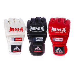 Wholesale Muay Thai Leather Gloves - MMA Muay Thai Gloves Grappling Training Sparring Half Mitts Youth Women