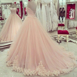 Wholesale Masquerade Ball Cheap Dresses - Pink Quinceanera Dresses 2017 Sweetheart Applique Lace Sweet 16 Dresses Plus Size Prom Dresses Masquerade Ball Gowns Party Dresses Cheap