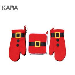 Wholesale luminous gloves - Wholesale- 3pcs set Christmas Decoration 2016 Oven Gloves Navidad Decoracion Christmas Ornament Table Decorations For Home Santa Claus