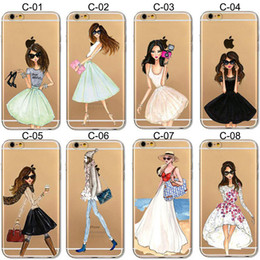 Wholesale Drawing Pattern Case - Beautiful Girls Drawing For iPhone 5 6 6S 7 Plus Case Soft TPU Cover Colorful Patterns Silicone Case