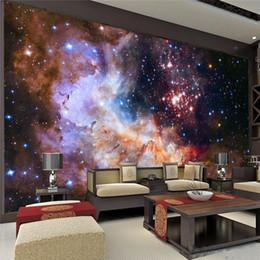 2019 arte pittura murale 3d 3D Gorgeous Galaxy photo wallpaper Personalizzato Silk Wallpaper Starry Night Murale Art Painting Hoom decoro Kid Bedroom Living room Decoration sconti arte pittura murale 3d