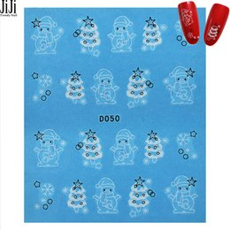 Wholesale Christmas Water Decals - Wholesale-Jiji Trendy Nail 1 Sheet Water Nail Art Polish Transfer Stickers Christmas Snowman Trees Pattern Nails Decals Sticker D050