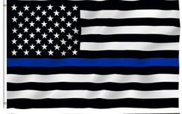 Wholesale Police Flags - 10pcs lot 90*150cm BlueLine USA Police Flags 3x5 Foot Thin Blue Line USA Flag Black, White And Blue American Flag With Brass Grommets