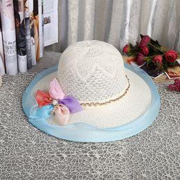 Wholesale Hollow Out Jazz Hat - 100PCS LOT New Arrive Panama Hats Belt Yarn Hollow-out Summer Hat Woman 2017 Fashion Jazz Cap Girl Retro Beach Hat
