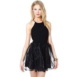 Wholesale Basic Mini Dress - 2016121906 Solid Black Women Ball Gown Dress Sexy Blackless Strap Cross Back Mini Dress For Female Basic Party Dress Vestidos