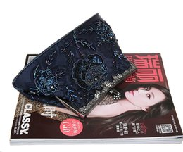 Wholesale Chinese Hand Cream - Navy Blue Chinese Women's Beaded Sequined Banquet Handbag Clutch Party Bridal Evening Bag Hand Purse Makeup Bag 03331-1-E