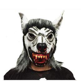 Wholesale Realistic Animal Costumes - Realistic Fur Mane Latex Mask Creepy Animal Wolf Full Face Latex Mask Cosplay Halloween Costume garnish