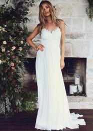 Wholesale Fashionable Gowns - Fashionable A-Line Lace Appliques Beach Wedding Dresses 2017 Spaghetti Straps Boho Wedding Dress Backless Wedding Gowns Cheap