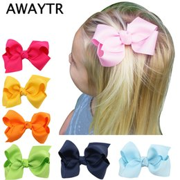 Wholesale Handmade Hairbows - Wholesale- AWAYTR 8cm 2Pcs Lot Girls Hair Bows with Clips Infant Hairbows Ribbon Bow Hair Clip Baby Girls Hairclip Handmade Hair Bow