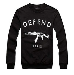 Wholesale 3d Animal Sweatshirts - Wholesale-DEFEND PARIS AK47 Women Men GIV Automatic rifles print pullover Long-Sleeve Hiphop 3D Sweatshirts Hoodies sweats Tops