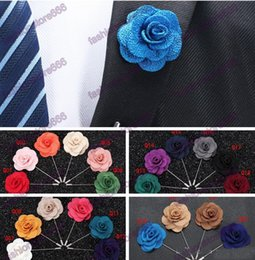 Wholesale Cc Brooch Wholesale - 22 colors men cc brooch Flower lapel pin suit Boutonniere Fabric yarn pin button Stick flower brooches for wedding gift