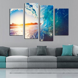 Wholesale Wave Panel Painting - Unframed 4 Panels beautifhl waves Scenery Canvas Print Painting Modern Canvas Wall Art for Wall Pcture Home Decor Artwork