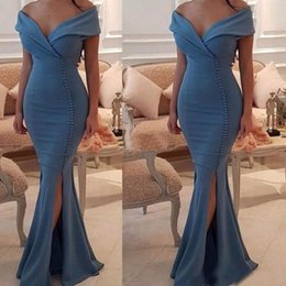 Wholesale Robe Empire Nude - Mermaid Long Dresses Evening Wear Sexy Satin Off The Shoulder Formal Party Gowns With Buttons Split robe de soiree 2017