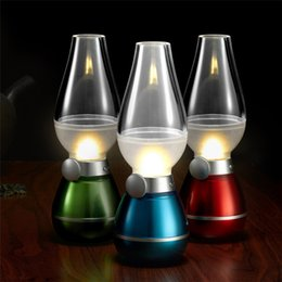 Wholesale Wholesale Kerosene - LED Retro Lamp Lamps Novelty Lighting USB Rechargeable Blowing Kerosene Adjustable Blow On-Off Night Light Home Decroration