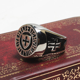 Wholesale Stainless Steel Cross Rings Mens - Free shipping Fashion Mens 316L Stainless Steel Retro cross Signet Knights Templar symbol antique man's rings jewelry