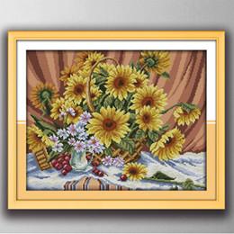 Peintures de décoration de panier de tournesol coloré, broderie de broderie au point de croix à la main définit l'impression sur toile DMC 14CT / 11CT ? partir de fabricateur