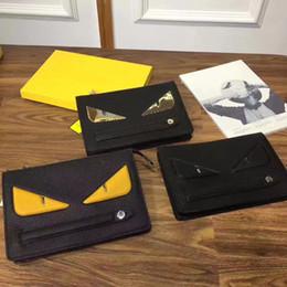 Wholesale Bags Clutch Clear - NEWEST ALL STYLES Yellow eyes Clutch bag AAAAA CONTINENTAL WALLET unisex handbag single zipper yellow eyes wallet