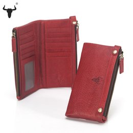Wholesale Womens Genuine Leather Clutch Long - Wholesale- Womens Zipper Wallets 100% Genuine Cow Leather Ladies Purses Lady Coin Pocket Red Long Wallet Female Clutch Bag For Women Gift
