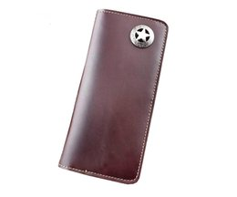 Wholesale Brown Leather Bikers Wallet - Texas Star Concho Men's Genuine Leather Wallet Biker Handmade Purse