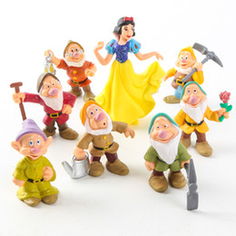 Wholesale Snow White Seven Dwarfs - New arrival 8pcs set 6-10cm Snow White and the Seven Dwarfs snow white princess girls toys PVC Action Figure Model Toy Doll For Collection