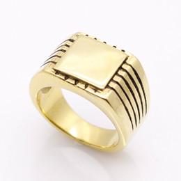 Feines festes gold online-Edlen Schmuck Männer Hochglanzpoliert Signet Solide Edelstahl Ring 316L Edelstahl Biker Ring Für Männer Gold Farbe Schmuck