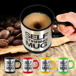Wholesale Automatic Tea - Self Stirring Coffee Cup bottle Automatic Mixing Tea cup Stainless Steel Coffee 400ml Drinking Cup Mug Free Shipping