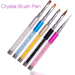 Wholesale powder liner - 2017 New Nail Art Brush Pen Rhinestone Diamond Metal Acrylic Handle Carving Powder Gel Liquid Salon Liner Nail Brush With Cap