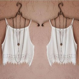 Wholesale Lace Chiffon Tank Top - Wholesale- White Ladies Girl Summer Vest Tops Spaghetti Strap Loose Casual Tank Tops S-XL Size
