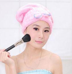 Wholesale Bath Caps For Women - Wholesale- Hot sales Magic Hair Fast Dry Towel Bath Wrap Twist Hat Bowknot Soild Quick Dry Cap Head For Women