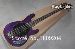 Wholesale Bass Guitar Stingray - Wholesale-Wholesale High quality Purple Music Man StingRay 4 string Electric Bass guitar with 9 V Battery active pickups