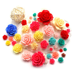 Wholesale 3d Rose Nail Art - Wholesale- 6mm 3D Nail Charms Rose Flowers 3D Nail Art Decorations Acrylic Nail Supplies Accessories Nailart Resin Studs Diy Sticker ZJ1098