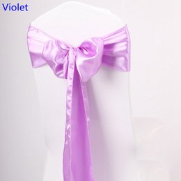 Caixilhos de cadeira violeta on-line-Violeta cor faixa de cetim cadeira de alta qualidade gravata borboleta para capas de cadeira festa de casamento do banquete do hotel decoração de casa por atacado