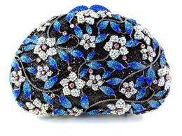 Wholesale Chinese Clutch Purses - Wholesale- BLACK BLUE SILVER Clutch Purse Embellished Crystal Clutch Evening Bags Gorgeous Chinese Make Clutch Bridal Purse for Weddings
