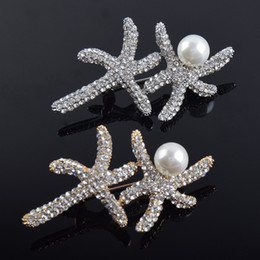 Wholesale Cheap Starfish - Happy starfish jewelry cheap brooches pins fashion brooches gold brooch for wedding gifts for guest brooch wedding favors party favors