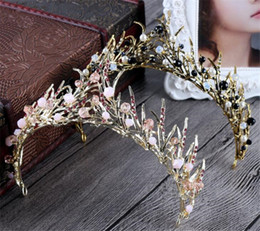 Wholesale Gift Fairy Hair Band - Vintage Wedding Bridal Gold Leaf Headband Crystal Rhinestone Crown Tiara Hair Band Jewelry Headpiece Princess Queen Party Prom Jewelry Gift