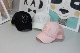 Wholesale Wholesale Kids Sunhats - Kids Baseball Cap Embroidery Sun Hats Adjustable Snapback Hip Hop Dance Hat Summer Outdoor children White Black pink Visor sunhats