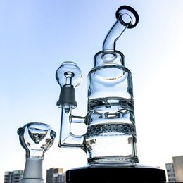 Wholesale Turbine Disc Bong - 2017 Hot Glass Hookahs With Turbine Disc Perc & Ratchet Perc Oil Dab Rigs Glass Bongs Smoking Water Pipes With 14.5mm Joint WP230