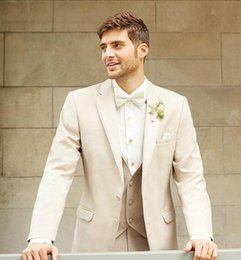 Wholesale Mens Tan Vests - Custom Made Men Tuxedo Lapel TAN NOTCH tailored suit Luxury and Comfort with An Open Cut Jacket Wedding Mens Suits with Vest Pants