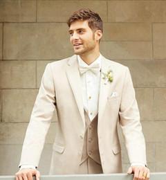 Wholesale Mens Tan Suit Vest - Custom Made Men Tuxedo Lapel TAN NOTCH tailored suit Luxury and Comfort with An Open Cut Jacket Wedding Mens Suits with Vest Pants