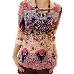 Wholesale Womens Orange Shirts - Chiffon T Shirt Blouses 2017 Autumn Long Sleeve Floral Women Blouse O-neck Loose Casual Ladies Tops Female Slim Womens TShirt